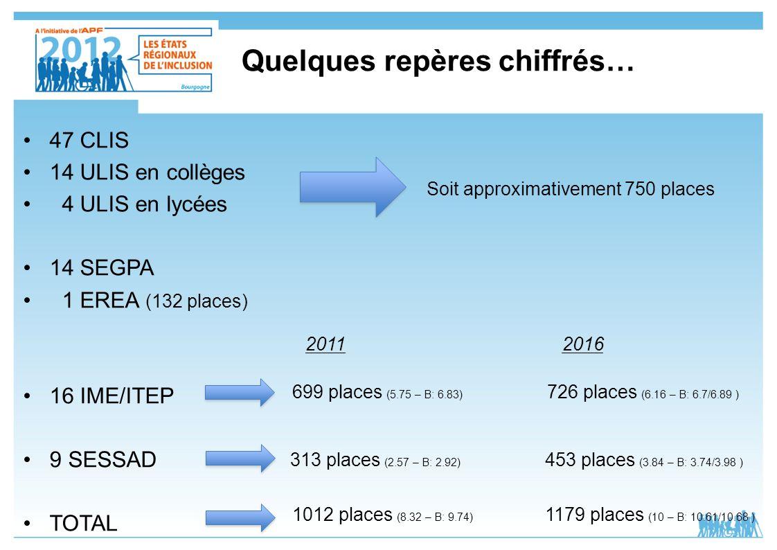 Quelques repères chiffrés… 47 CLIS 14 ULIS en collèges 4 ULIS en lycées 14 SEGPA 1 EREA (132 places) 16 IME/ITEP 9 SESSAD TOTAL Soit approximativement