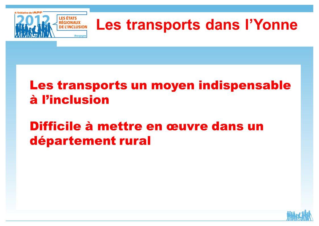Les transports un moyen indispensable à linclusion Difficile à mettre en œuvre dans un département rural Les transports dans lYonne