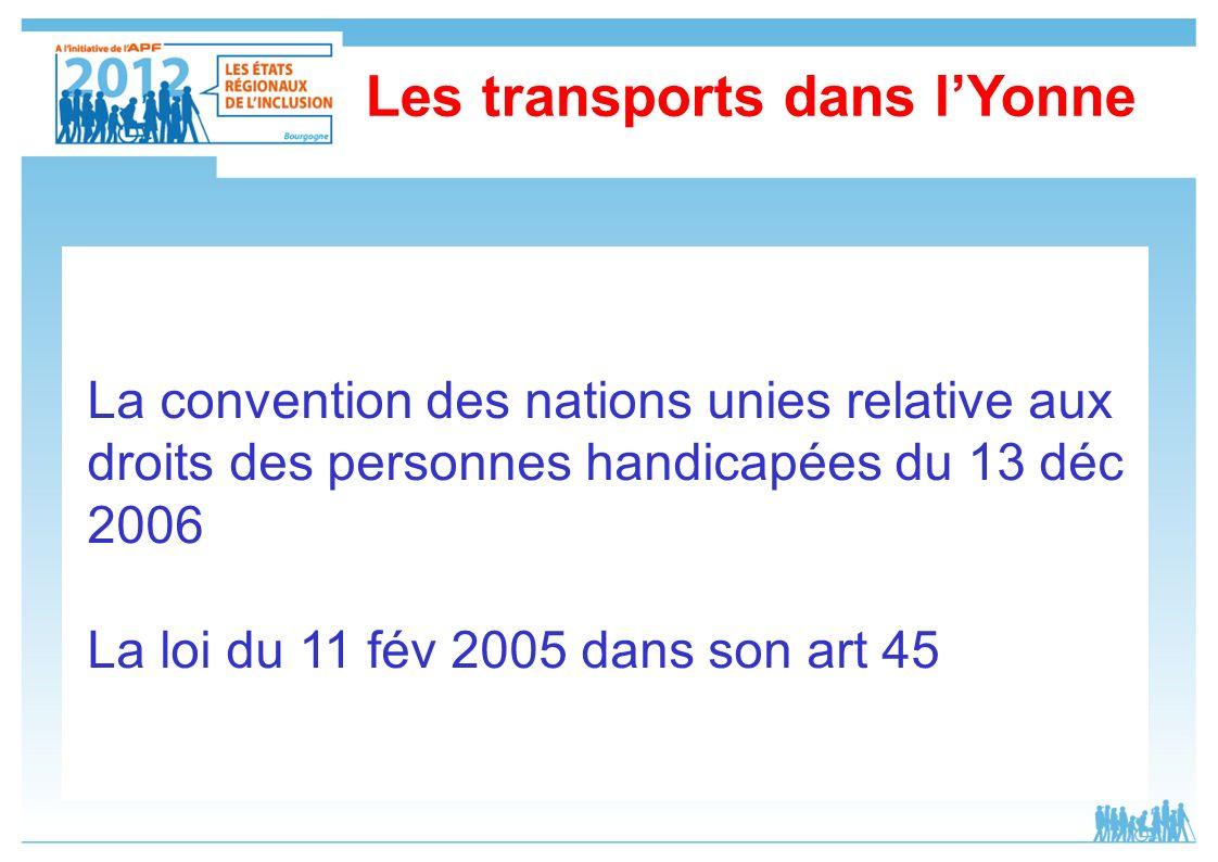 La convention des nations unies relative aux droits des personnes handicapées du 13 déc 2006 La loi du 11 fév 2005 dans son art 45 Les transports dans