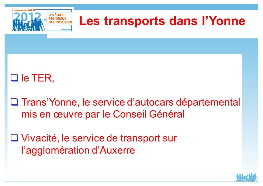 le TER, TransYonne, le service dautocars départemental mis en œuvre par le Conseil Général Vivacité, le service de transport sur lagglomération dAuxer