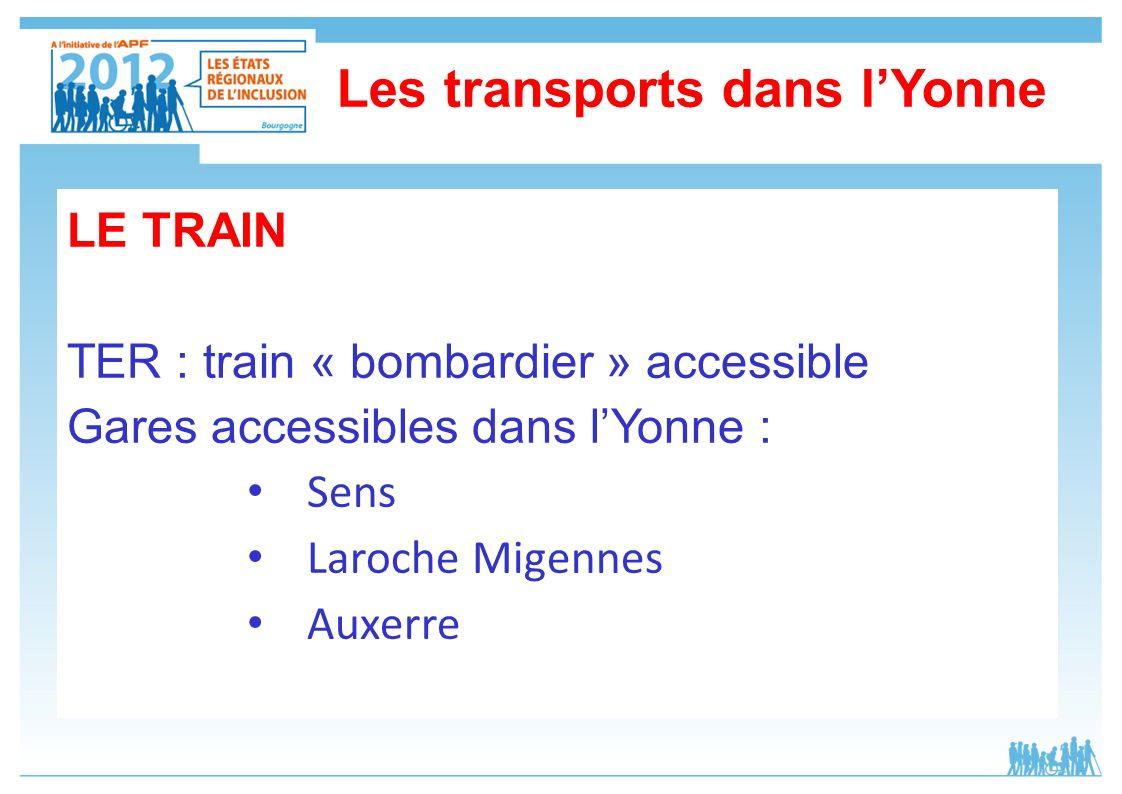 Les transports dans lYonne LE TRAIN TER : train « bombardier » accessible Gares accessibles dans lYonne : Sens Laroche Migennes Auxerre