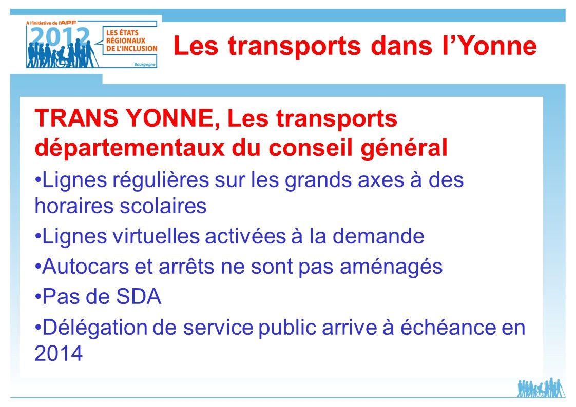 Les transports dans lYonne TRANS YONNE, Les transports départementaux du conseil général Lignes régulières sur les grands axes à des horaires scolaire