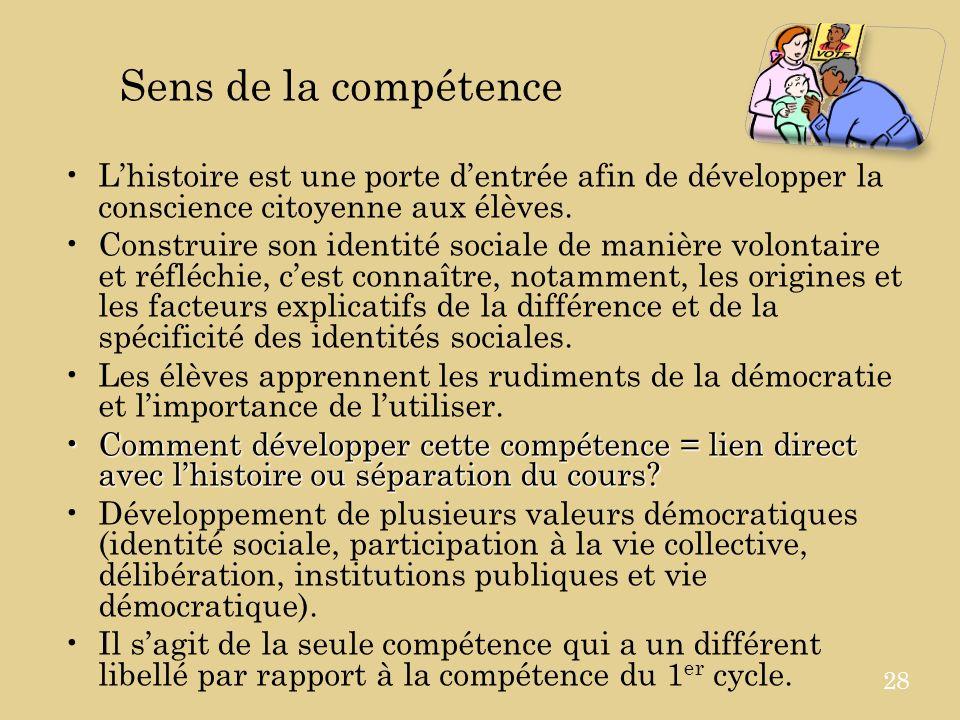 Sens de la compétence Lhistoire est une porte dentrée afin de développer la conscience citoyenne aux élèves.