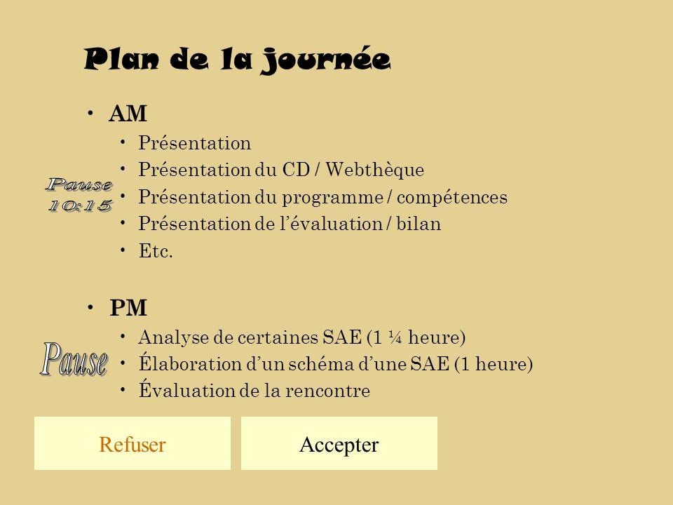 Plan de la journée AM Présentation Présentation du CD / Webthèque Présentation du programme / compétences Présentation de lévaluation / bilan Etc.