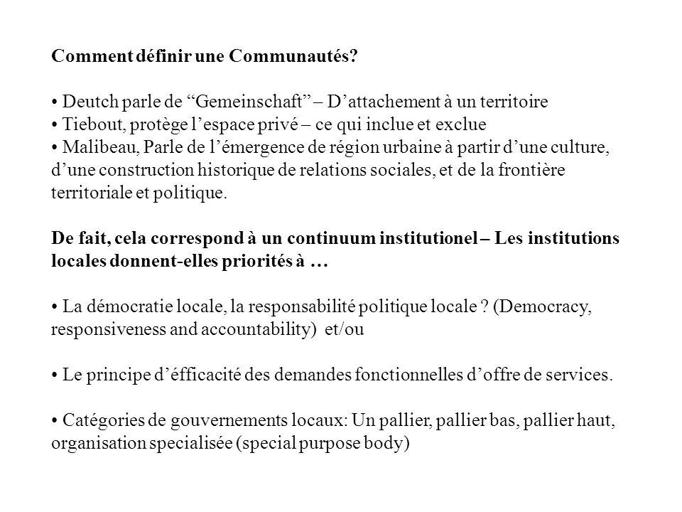 Comment définir une Communautés? Deutch parle de Gemeinschaft – Dattachement à un territoire Tiebout, protège lespace privé – ce qui inclue et exclue