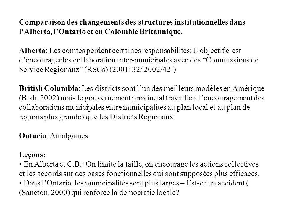 Comparaison des changements des structures institutionnelles dans lAlberta, lOntario et en Colombie Britannique. Alberta: Les comtés perdent certaines