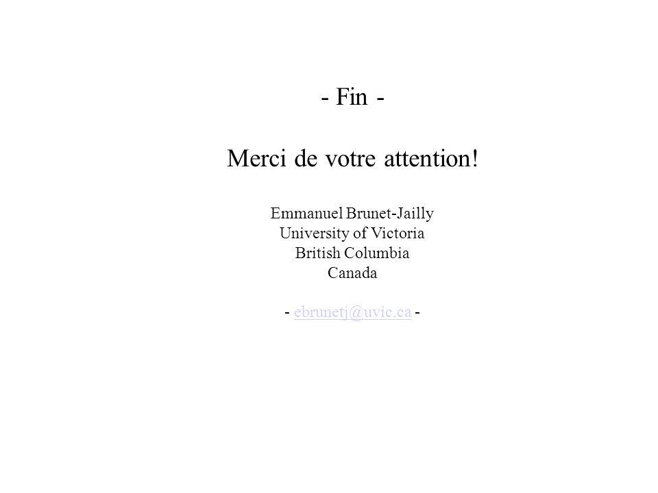 - Fin - Merci de votre attention! Emmanuel Brunet-Jailly University of Victoria British Columbia Canada - ebrunetj@uvic.ca -ebrunetj@uvic.ca