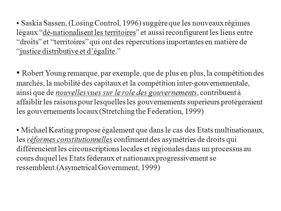 Saskia Sassen, (Losing Control, 1996) suggère que les nouveaux régimes légaux dé-nationalisent les territoires et aussi reconfigurent les liens entre
