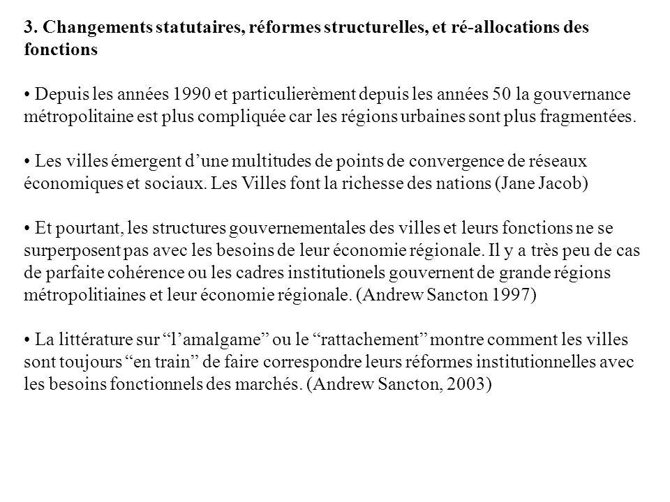 3. Changements statutaires, réformes structurelles, et ré-allocations des fonctions Depuis les années 1990 et particulierèment depuis les années 50 la