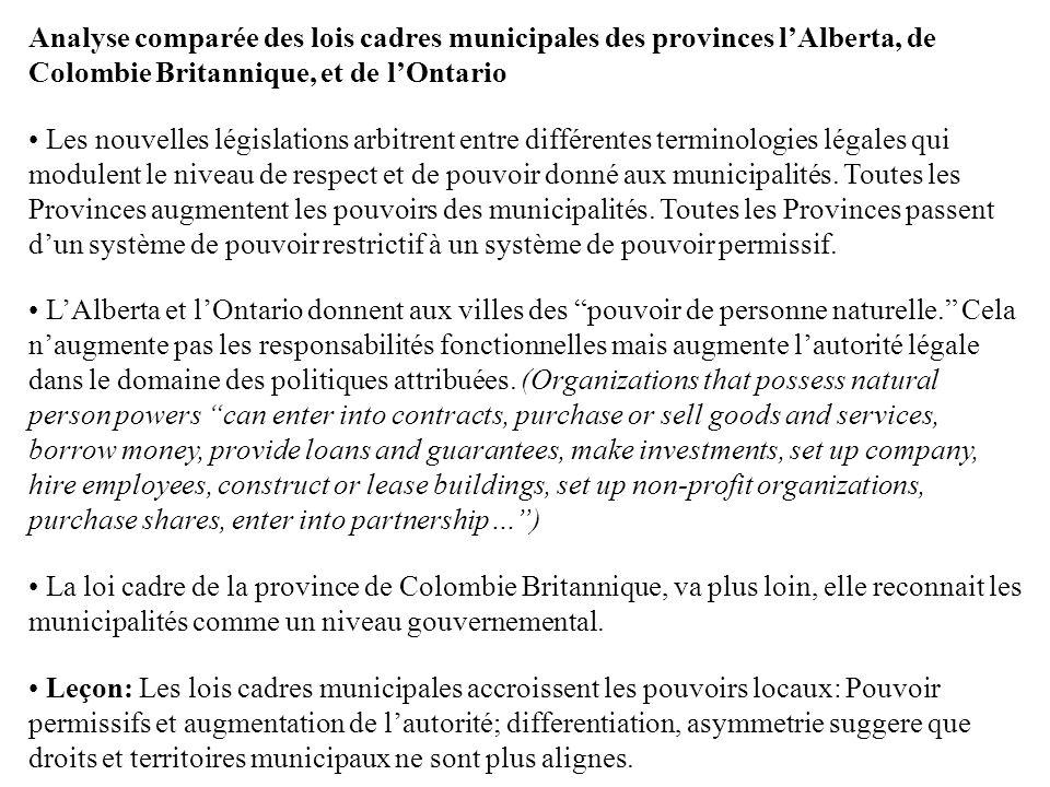 Analyse comparée des lois cadres municipales des provinces lAlberta, de Colombie Britannique, et de lOntario Les nouvelles législations arbitrent entr