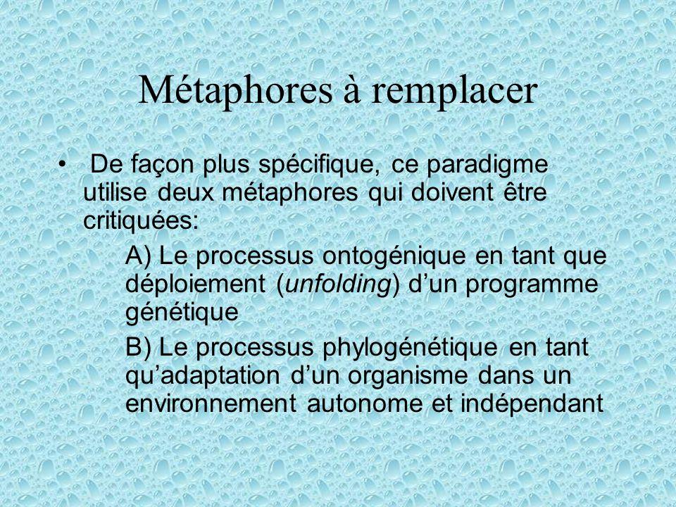 Métaphores à remplacer De façon plus spécifique, ce paradigme utilise deux métaphores qui doivent être critiquées: A) Le processus ontogénique en tant que déploiement (unfolding) dun programme génétique B) Le processus phylogénétique en tant quadaptation dun organisme dans un environnement autonome et indépendant