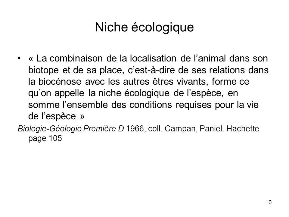 10 Niche écologique « La combinaison de la localisation de lanimal dans son biotope et de sa place, cest-à-dire de ses relations dans la biocénose ave