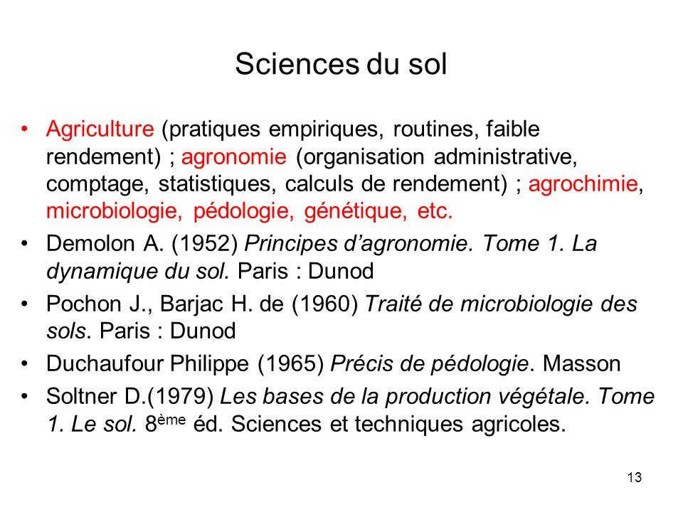13 Sciences du sol Agriculture (pratiques empiriques, routines, faible rendement) ; agronomie (organisation administrative, comptage, statistiques, ca
