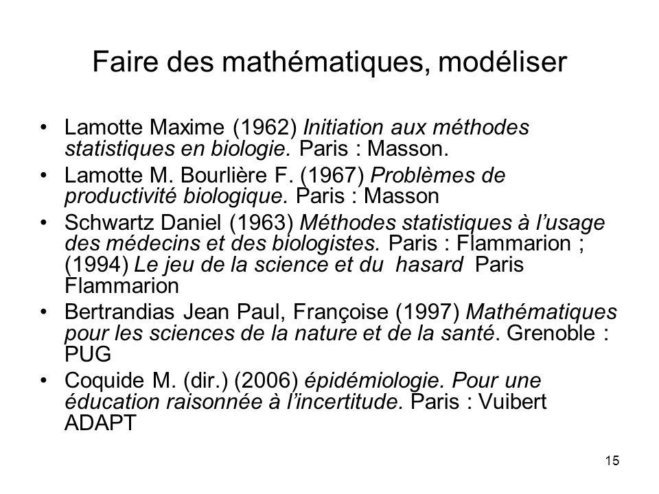 15 Faire des mathématiques, modéliser Lamotte Maxime (1962) Initiation aux méthodes statistiques en biologie. Paris : Masson. Lamotte M. Bourlière F.