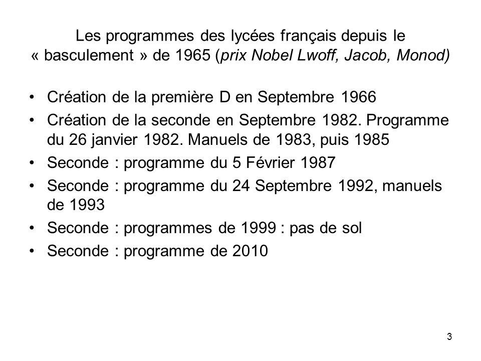 3 Les programmes des lycées français depuis le « basculement » de 1965 (prix Nobel Lwoff, Jacob, Monod) Création de la première D en Septembre 1966 Cr