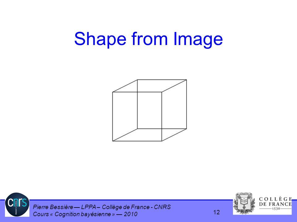 Pierre Bessière LPPA – Collège de France - CNRS Cours « Cognition bayésienne » 2010 Shape from Image 12