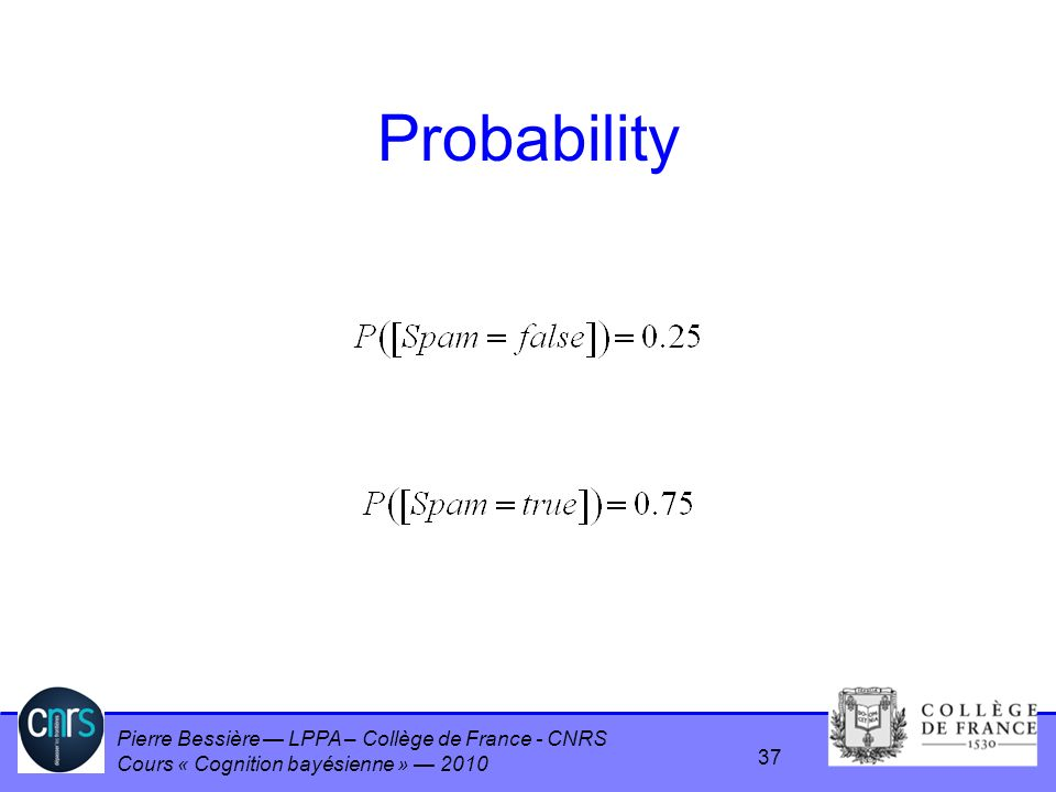 Pierre Bessière LPPA – Collège de France - CNRS Cours « Cognition bayésienne » 2010 Probability 37