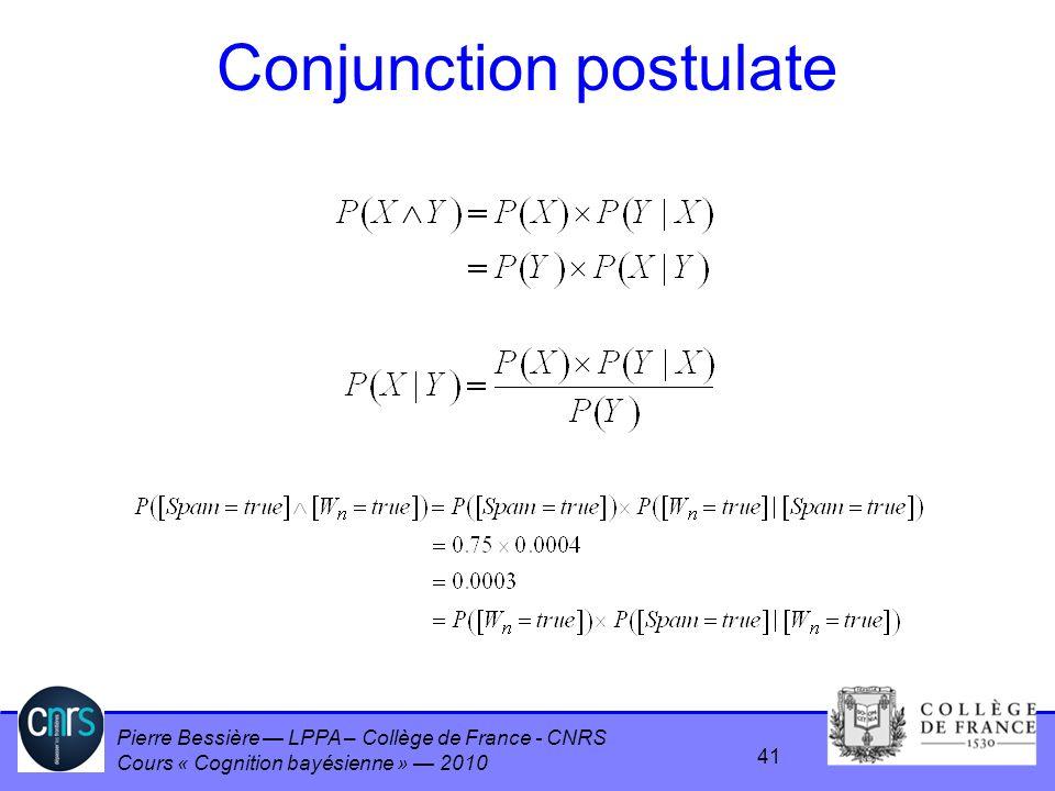 Pierre Bessière LPPA – Collège de France - CNRS Cours « Cognition bayésienne » 2010 Conjunction postulate 41