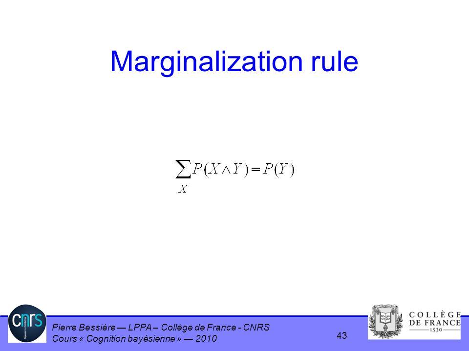 Pierre Bessière LPPA – Collège de France - CNRS Cours « Cognition bayésienne » 2010 Marginalization rule 43