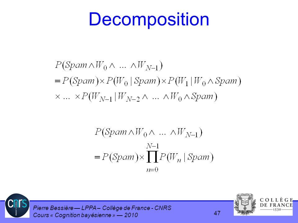 Pierre Bessière LPPA – Collège de France - CNRS Cours « Cognition bayésienne » 2010 Decomposition 47