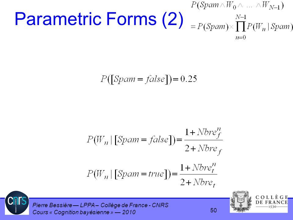 Pierre Bessière LPPA – Collège de France - CNRS Cours « Cognition bayésienne » 2010 Parametric Forms (2) 50