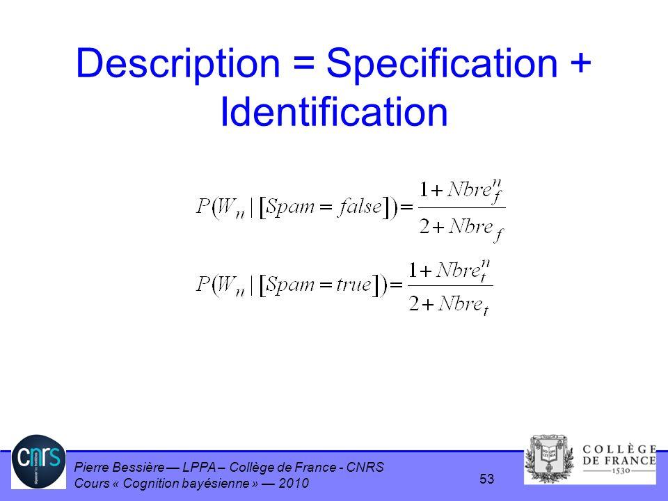 Pierre Bessière LPPA – Collège de France - CNRS Cours « Cognition bayésienne » 2010 Description = Specification + Identification 53