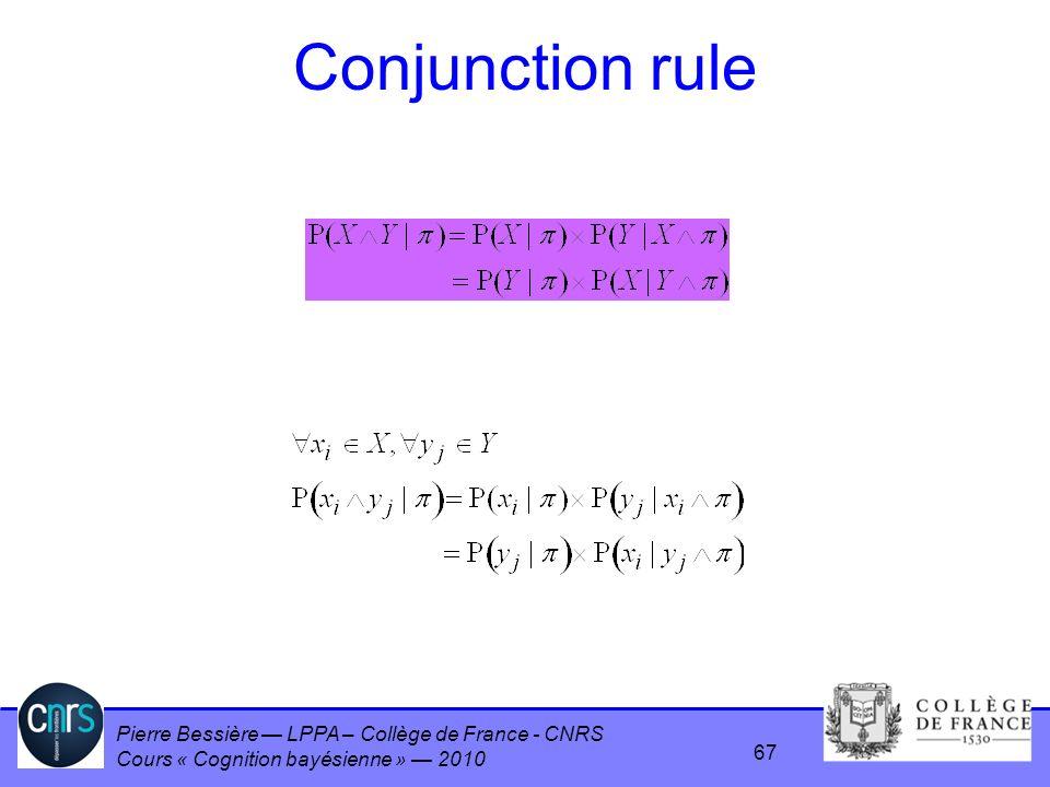 Pierre Bessière LPPA – Collège de France - CNRS Cours « Cognition bayésienne » 2010 Conjunction rule 67