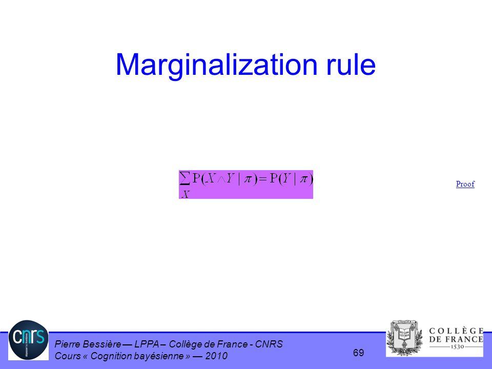 Pierre Bessière LPPA – Collège de France - CNRS Cours « Cognition bayésienne » 2010 Marginalization rule Proof 69