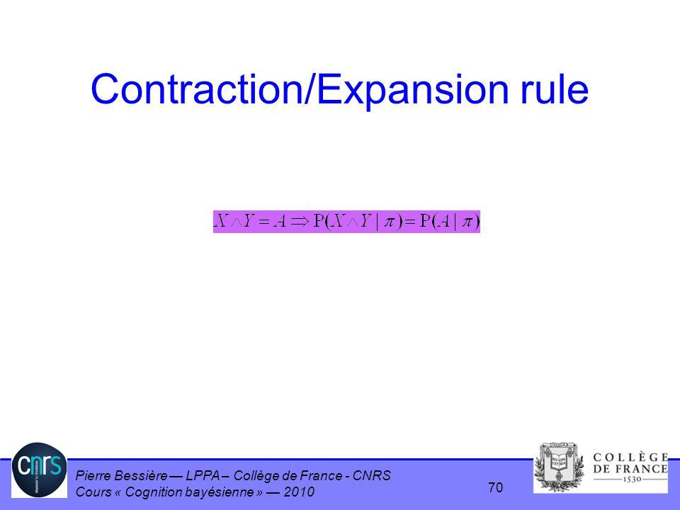 Pierre Bessière LPPA – Collège de France - CNRS Cours « Cognition bayésienne » 2010 Contraction/Expansion rule 70