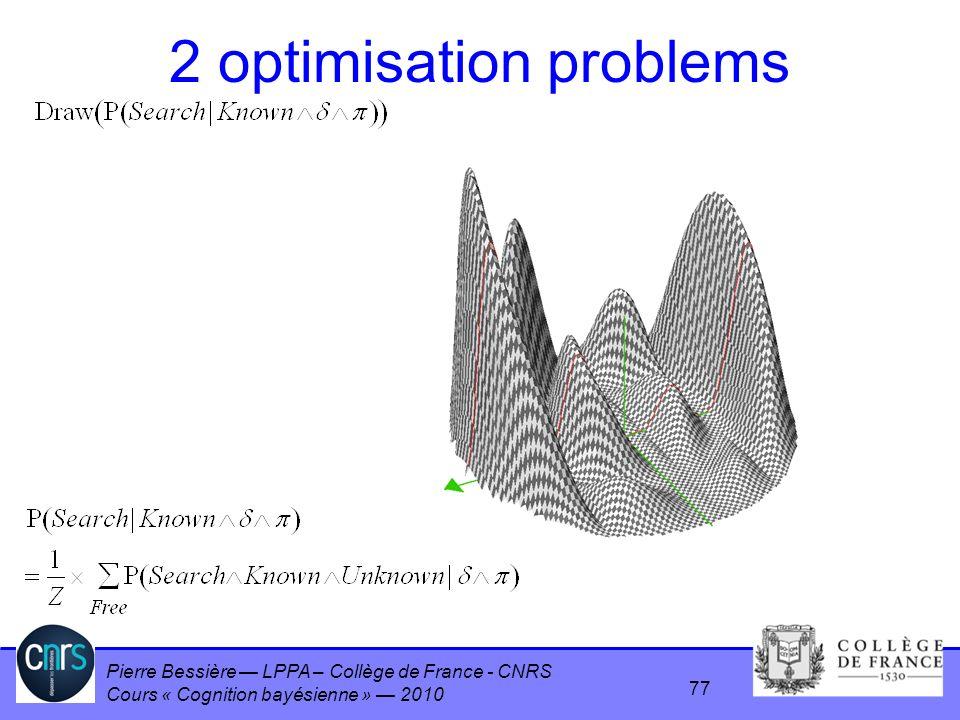 Pierre Bessière LPPA – Collège de France - CNRS Cours « Cognition bayésienne » 2010 2 optimisation problems 77