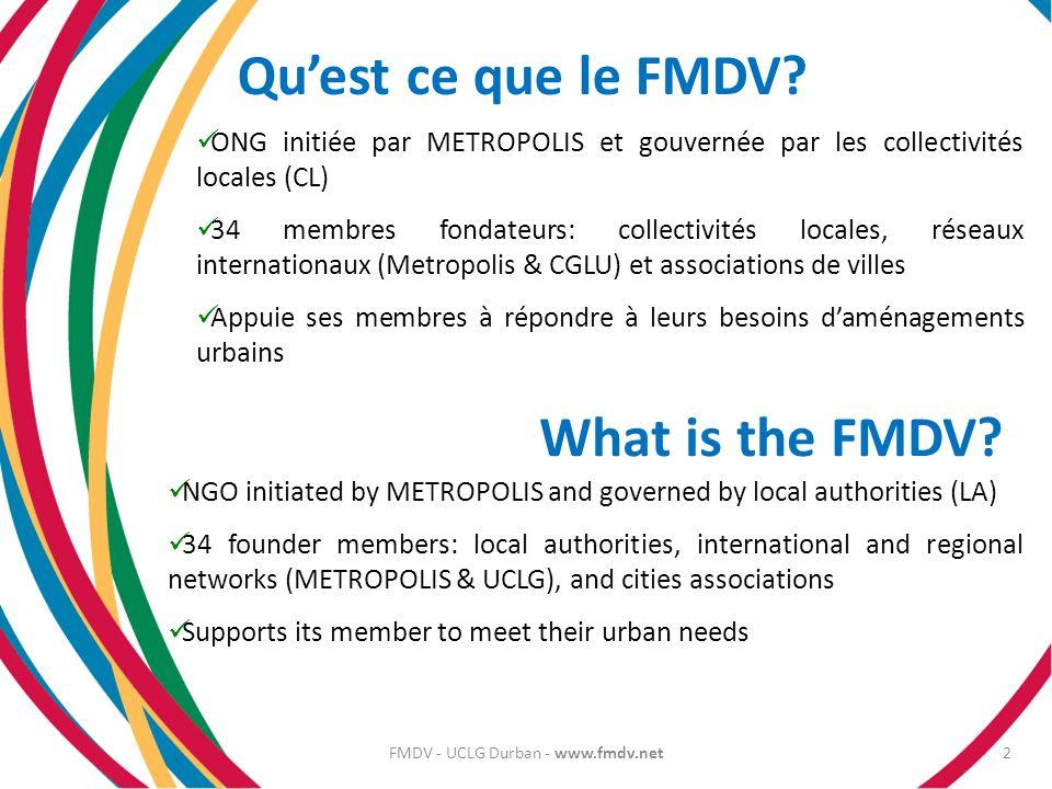 Quest ce que le FMDV? ONG initiée par METROPOLIS et gouvernée par les collectivités locales (CL) 34 membres fondateurs: collectivités locales, réseaux
