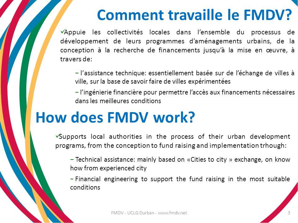 Comment travaille le FMDV? Appuie les collectivités locales dans lensemble du processus de développement de leurs programmes daménagements urbains, de