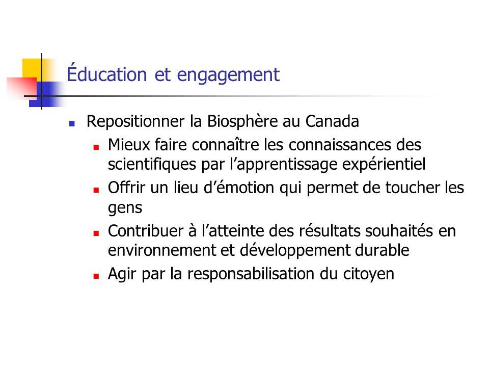 Éducation et engagement Repositionner la Biosphère au Canada Mieux faire connaître les connaissances des scientifiques par lapprentissage expérientiel Offrir un lieu démotion qui permet de toucher les gens Contribuer à latteinte des résultats souhaités en environnement et développement durable Agir par la responsabilisation du citoyen