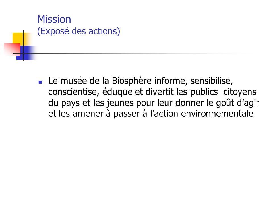 Mission (Exposé des actions) Le musée de la Biosphère informe, sensibilise, conscientise, éduque et divertit les publics citoyens du pays et les jeunes pour leur donner le goût dagir et les amener à passer à laction environnementale