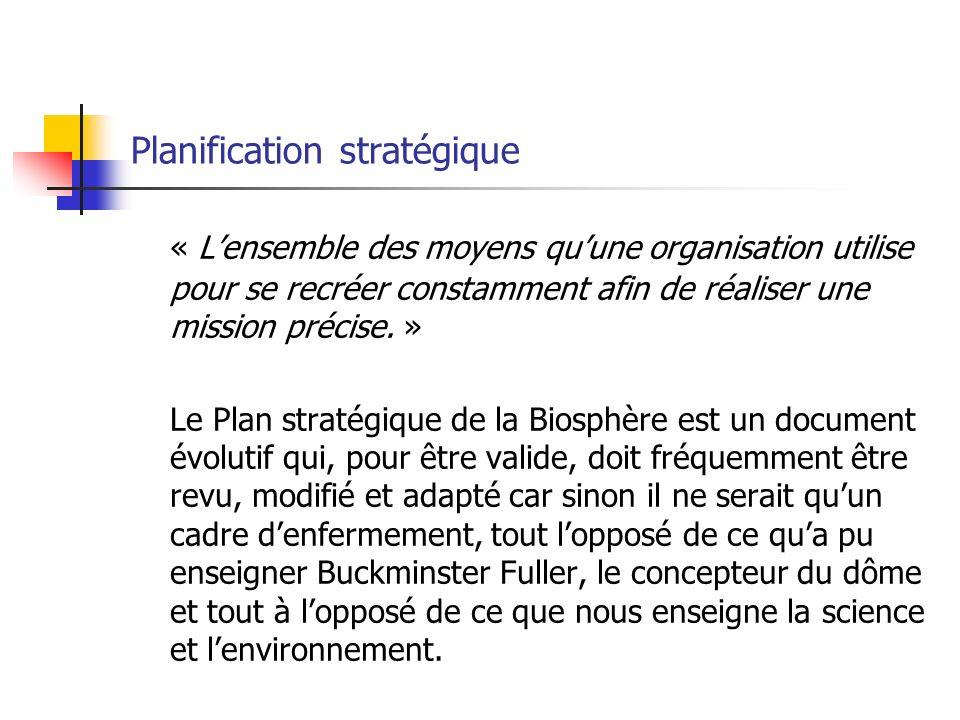 Planification stratégique « Lensemble des moyens quune organisation utilise pour se recréer constamment afin de réaliser une mission précise.