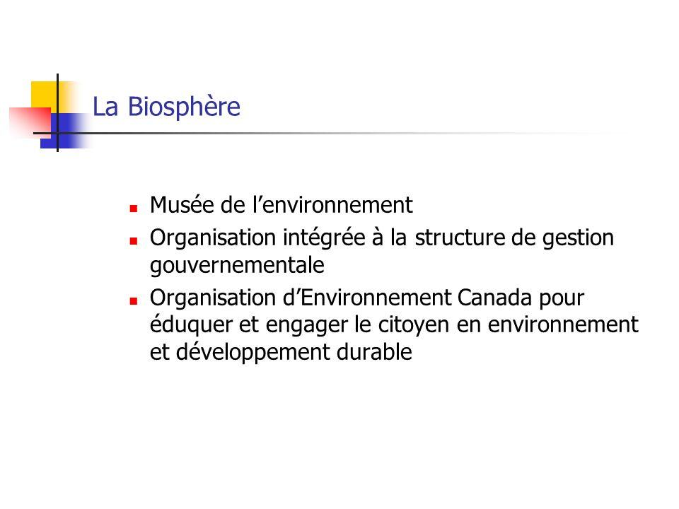 La Biosphère Musée de lenvironnement Organisation intégrée à la structure de gestion gouvernementale Organisation dEnvironnement Canada pour éduquer et engager le citoyen en environnement et développement durable