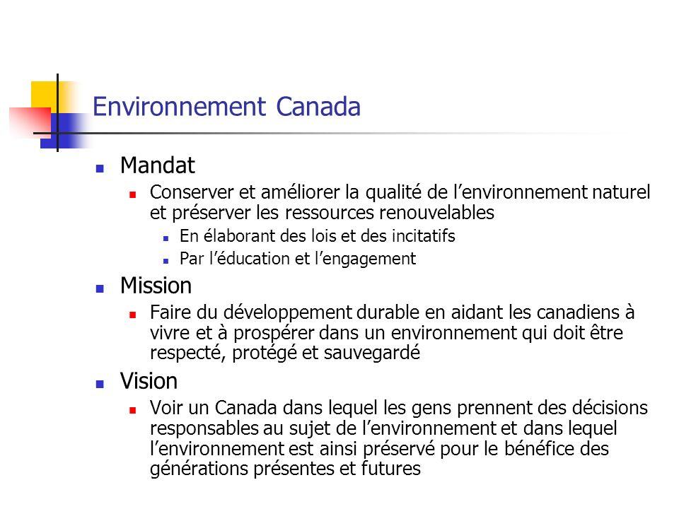 Environnement Canada Mandat Conserver et améliorer la qualité de lenvironnement naturel et préserver les ressources renouvelables En élaborant des lois et des incitatifs Par léducation et lengagement Mission Faire du développement durable en aidant les canadiens à vivre et à prospérer dans un environnement qui doit être respecté, protégé et sauvegardé Vision Voir un Canada dans lequel les gens prennent des décisions responsables au sujet de lenvironnement et dans lequel lenvironnement est ainsi préservé pour le bénéfice des générations présentes et futures
