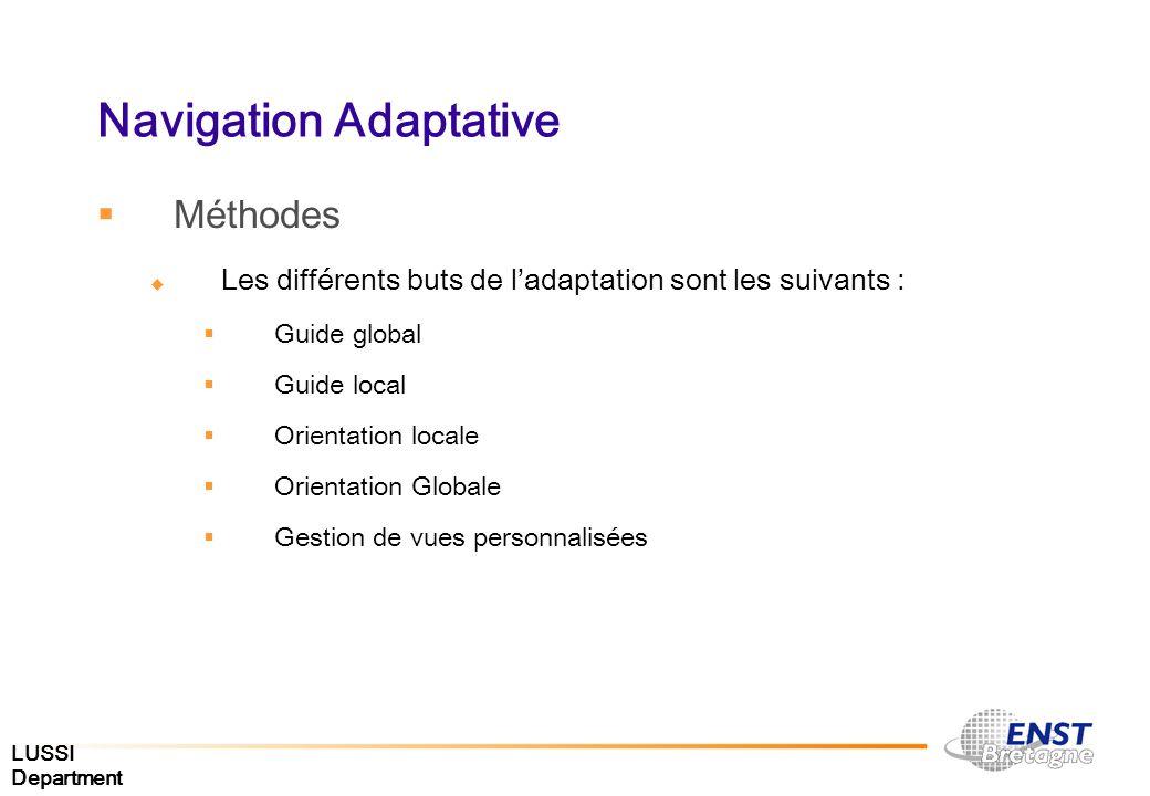 Navigation Adaptative Méthodes Les différents buts de ladaptation sont les suivants : Guide global Guide local Orientation locale Orientation Globale