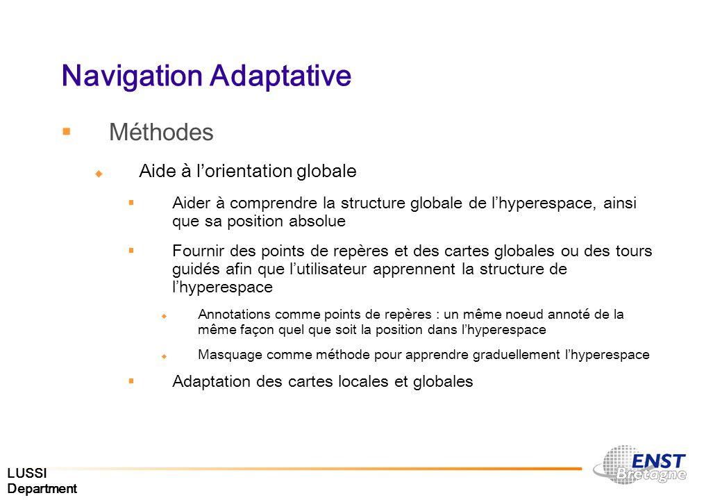 LUSSI Department Navigation Adaptative Méthodes Aide à lorientation globale Aider à comprendre la structure globale de lhyperespace, ainsi que sa posi