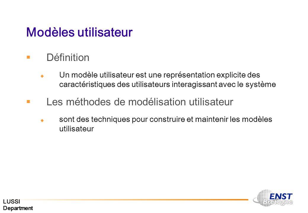 LUSSI Department Modèles utilisateur Définition Un modèle utilisateur est une représentation explicite des caractéristiques des utilisateurs interagis