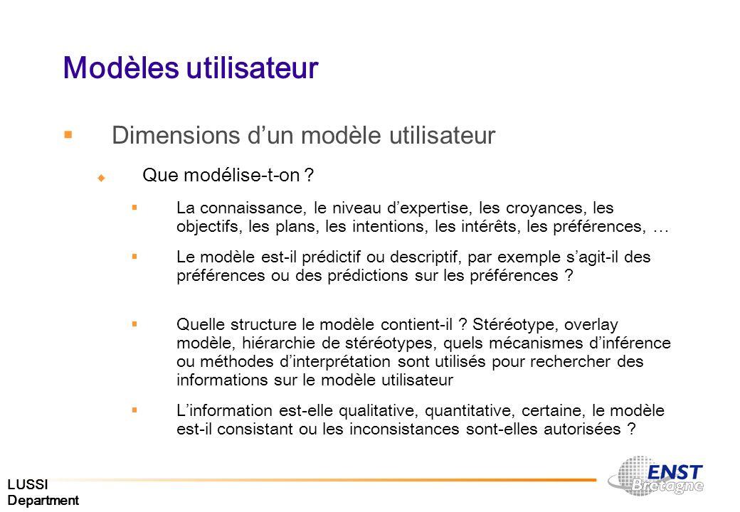 LUSSI Department Modèles utilisateur Dimensions dun modèle utilisateur Que modélise-t-on ? La connaissance, le niveau dexpertise, les croyances, les o