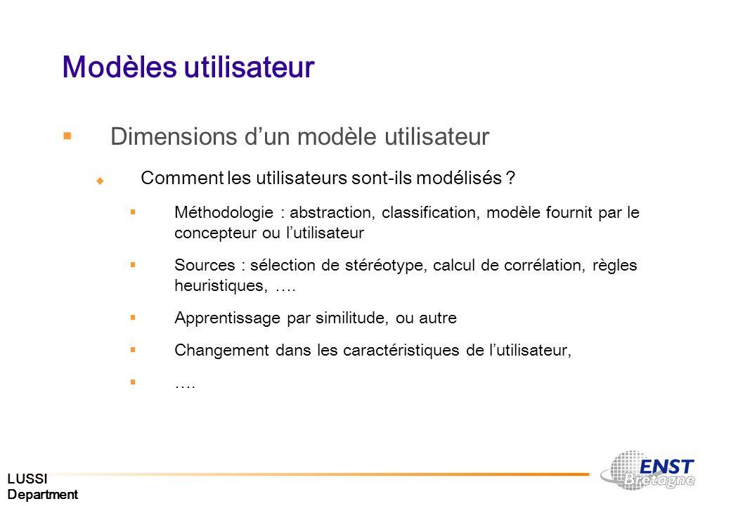 LUSSI Department Modèles utilisateur Dimensions dun modèle utilisateur Comment les utilisateurs sont-ils modélisés ? Méthodologie : abstraction, class