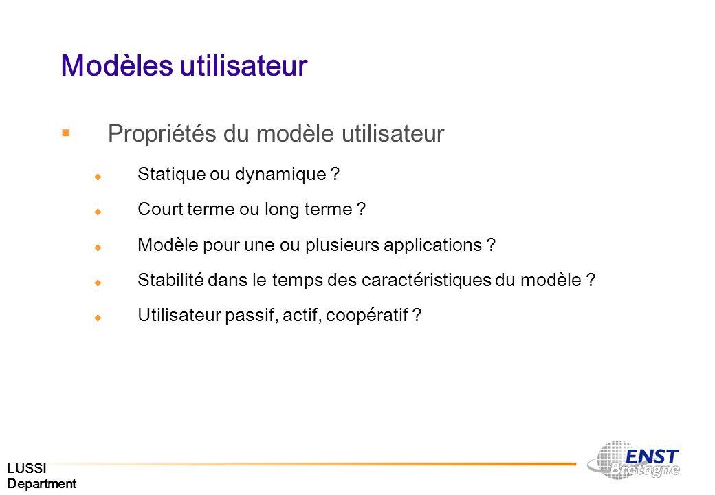 LUSSI Department Modèles utilisateur Propriétés du modèle utilisateur Statique ou dynamique ? Court terme ou long terme ? Modèle pour une ou plusieurs