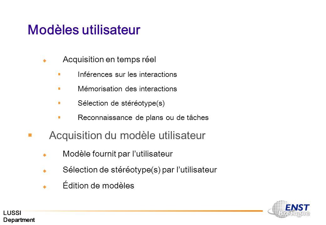 LUSSI Department Modèles utilisateur Acquisition en temps réel Inférences sur les interactions Mémorisation des interactions Sélection de stéréotype(s
