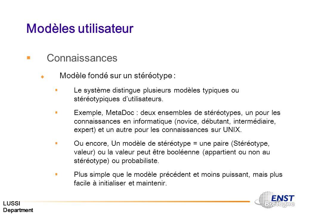 LUSSI Department Modèles utilisateur Connaissances Modèle fondé sur un stéréotype : Le système distingue plusieurs modèles typiques ou stéréotypiques