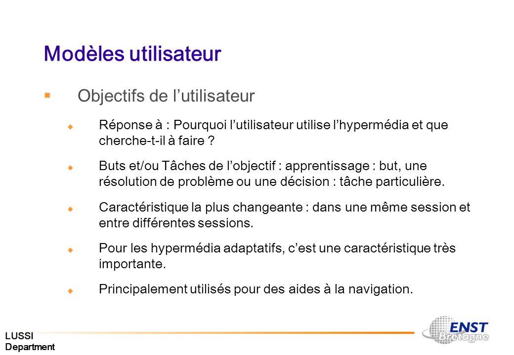 LUSSI Department Modèles utilisateur Objectifs de lutilisateur Réponse à : Pourquoi lutilisateur utilise lhypermédia et que cherche-t-il à faire ? But