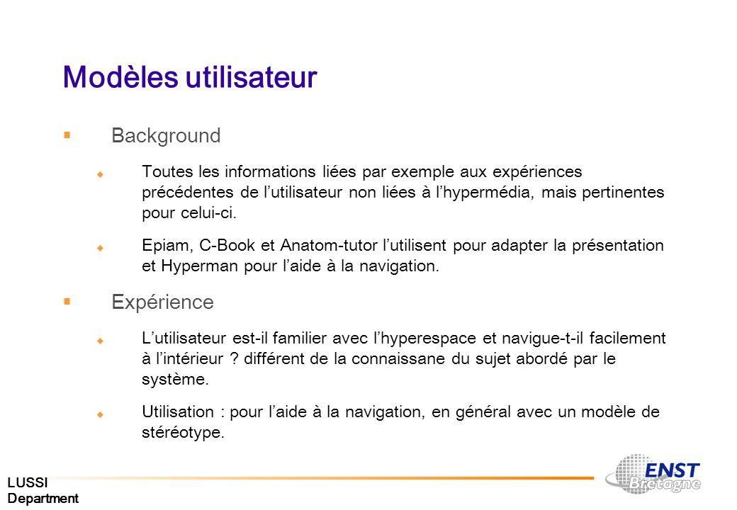 LUSSI Department Modèles utilisateur Background Toutes les informations liées par exemple aux expériences précédentes de lutilisateur non liées à lhyp