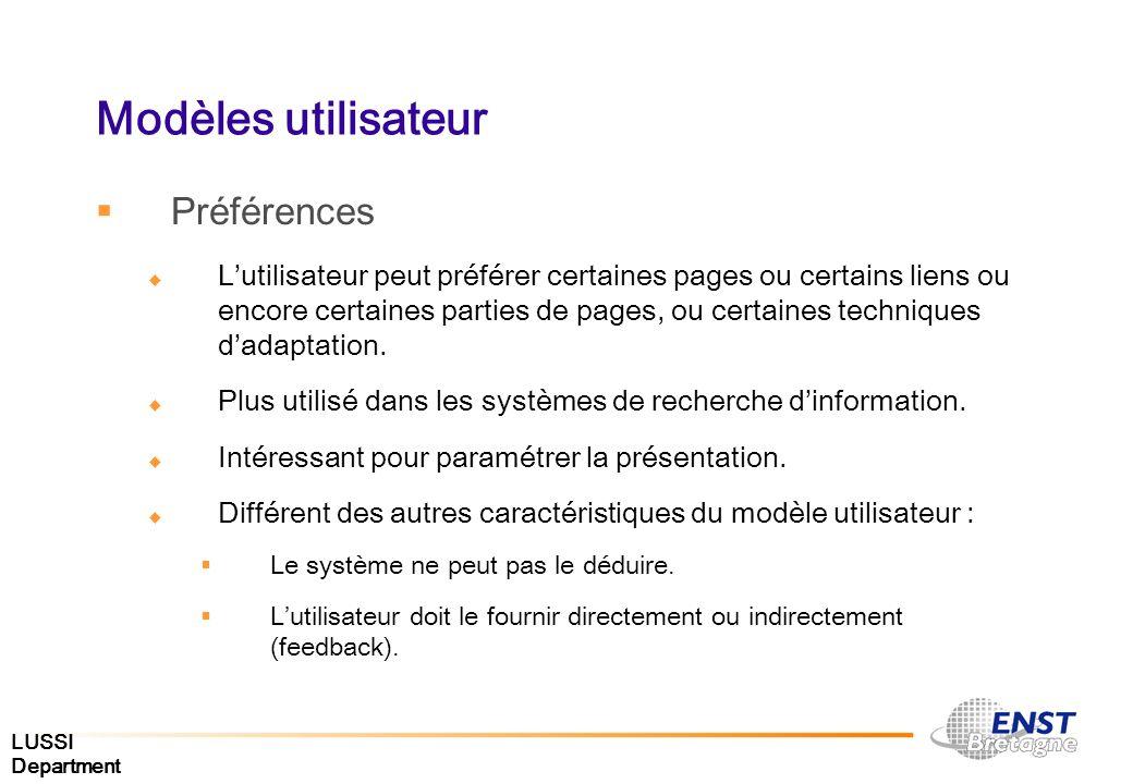 LUSSI Department Modèles utilisateur Préférences Lutilisateur peut préférer certaines pages ou certains liens ou encore certaines parties de pages, ou