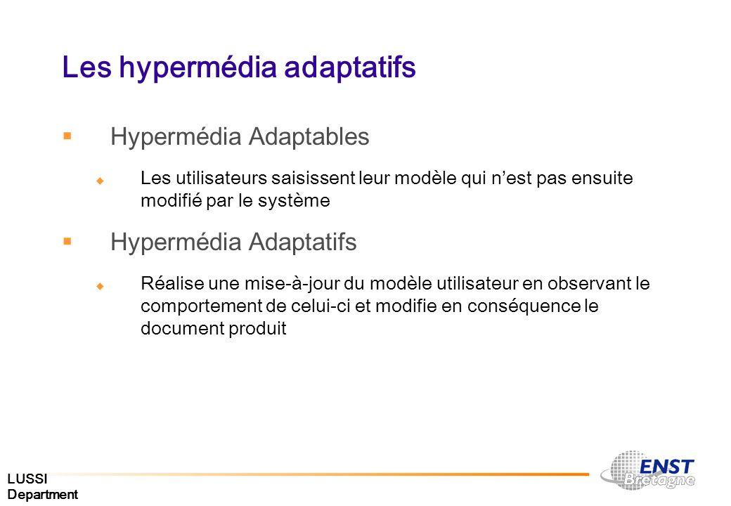 LUSSI Department Les hypermédia adaptatifs Hypermédia Adaptables Les utilisateurs saisissent leur modèle qui nest pas ensuite modifié par le système H