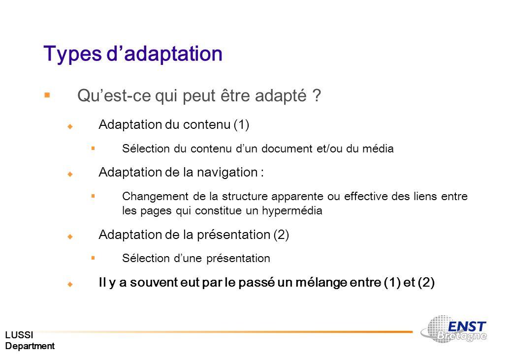 LUSSI Department Types dadaptation Quest-ce qui peut être adapté ? Adaptation du contenu (1) Sélection du contenu dun document et/ou du média Adaptati